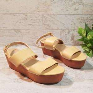 J Jill Cream Ankle Strap Platform Heels  Sz 6M